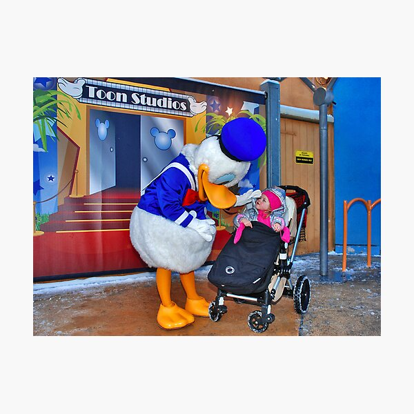 Rosalie meets Donald Duck Photographic Print