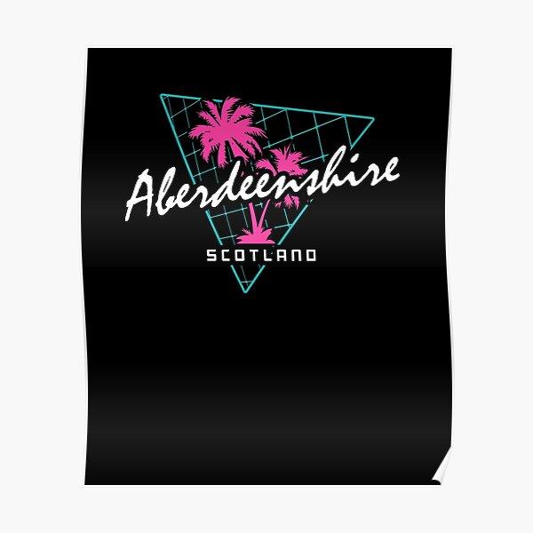 Retro 80s Neon 'Aberdeenshire' Vintage Scotland Poster