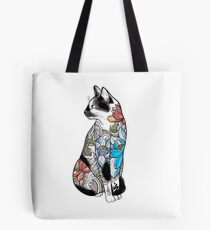 Cat in Lotus Tattoo Tote Bag