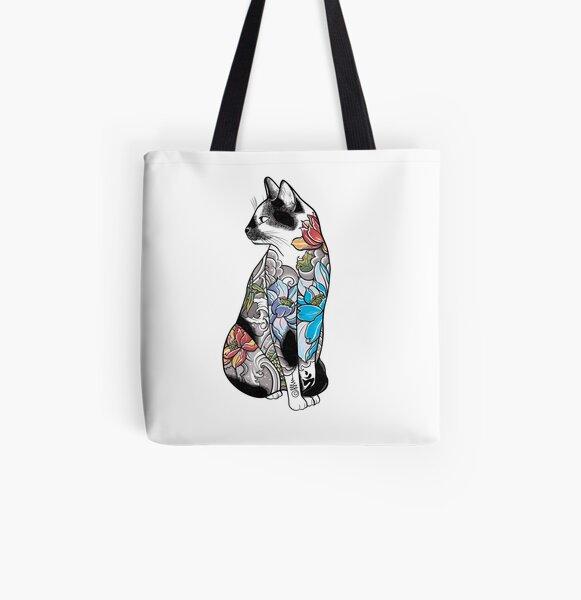 Cat in Lotus Tattoo All Over Print Tote Bag