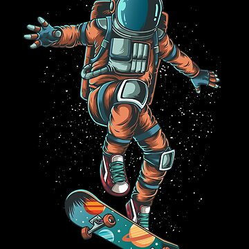 Astronaut Riding Skateboard by B-Cubed-Shirts