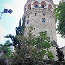 Galata Tower Behind Wall by tomeoftrovius