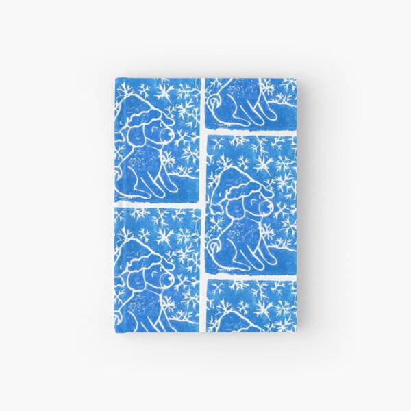 Happy blue doggo in winter snowflakes Hardcover Journal