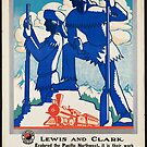 Vintage Lewis and Clark Explore the Pacific Northwest by Railway Train Travel Vacation Holiday Advertisement Art Posters by jnniepce