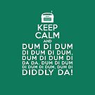 Keep Calm and Dum di dum Archers Theme Tune Clock Green  by shufti