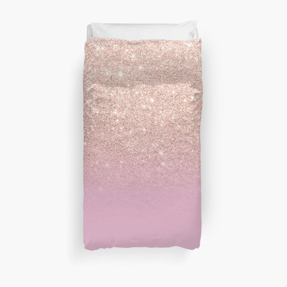 Rose gold glitter ombre on sweet lilac Duvet Cover