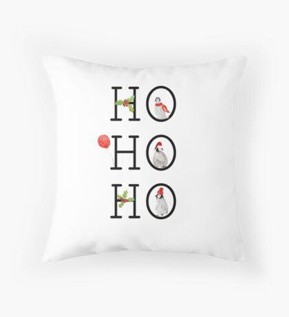 HO HO HO Christmas Penguins Throw Pillow