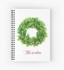 All is Calm Christmas Wreath Spiral Notebook