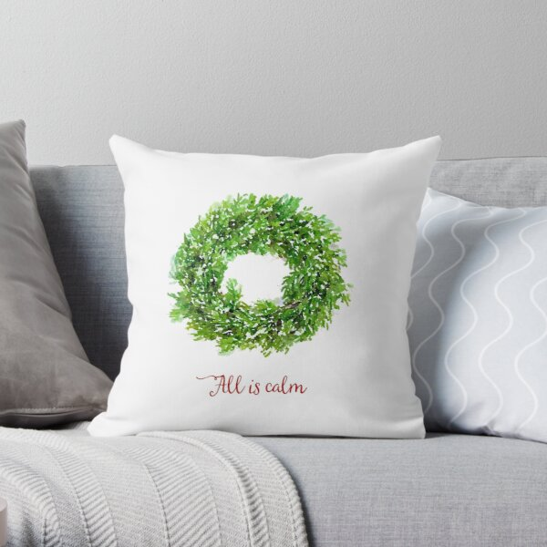 All is Calm Christmas Wreath Throw Pillow