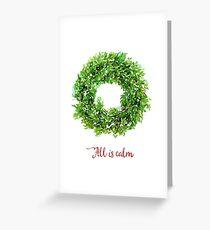 All is Calm Christmas Wreath Greeting Card