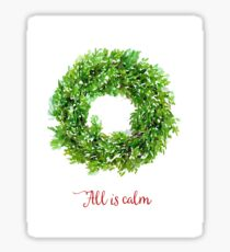 All is Calm Christmas Wreath Sticker
