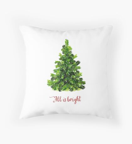 All is Bright Christmas Evergreen Tree Throw Pillow