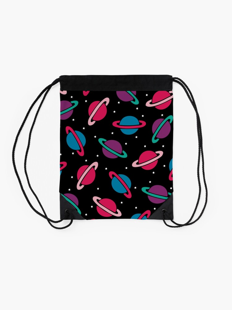 Alternate view of Neon Space Planets Pattern Drawstring Bag