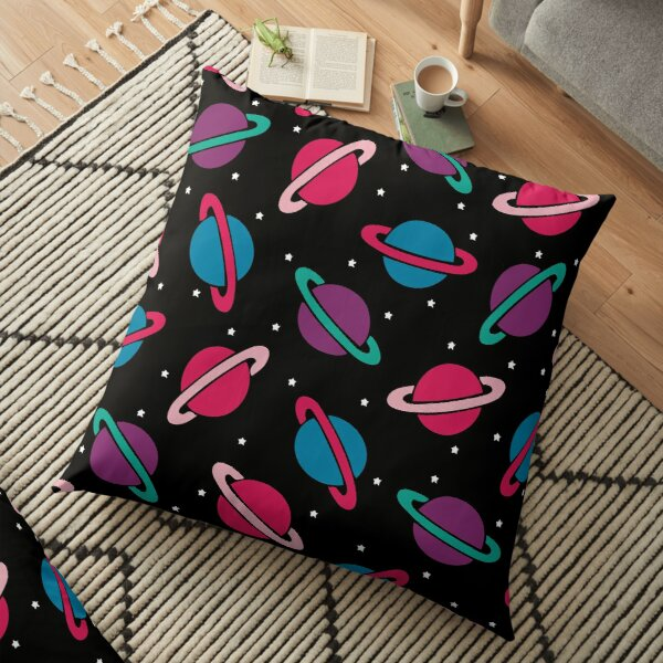 Neon Space Planets Pattern Floor Pillow