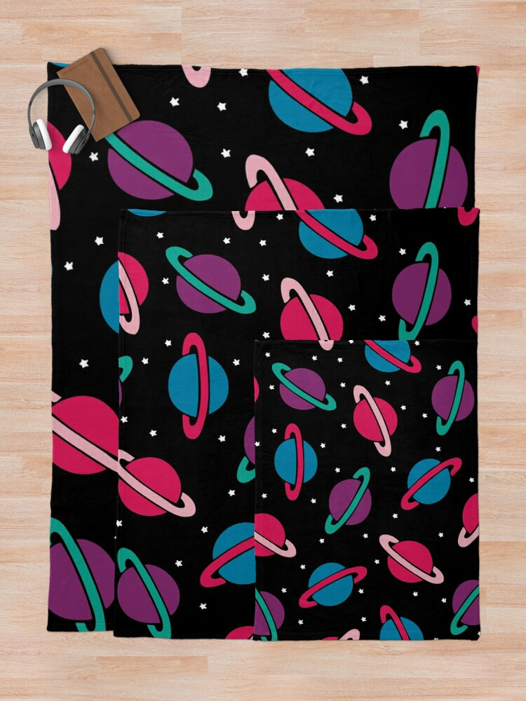Alternate view of Neon Space Planets Pattern Throw Blanket