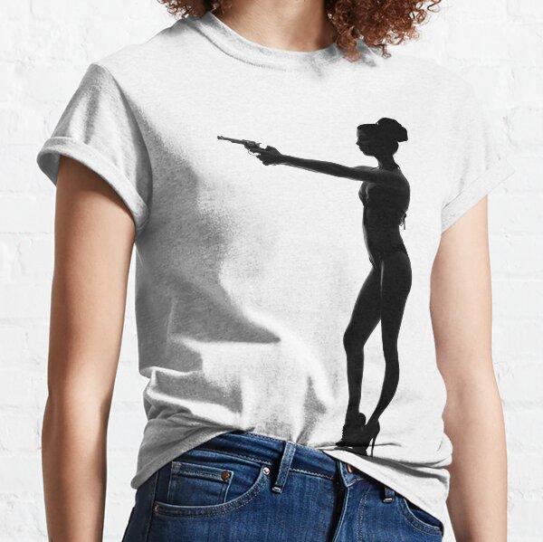 Silhouette, femme, pistolet, maillot de bain T-shirt classique