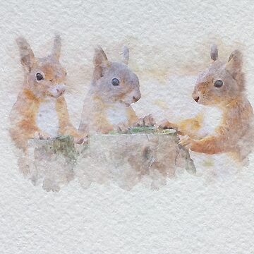 Red Squirrels Watercolour by Kelly-Ferguson