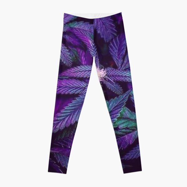 Psychedelic Purple Cannabis Marijuana Weed Pot Leaves Leggings