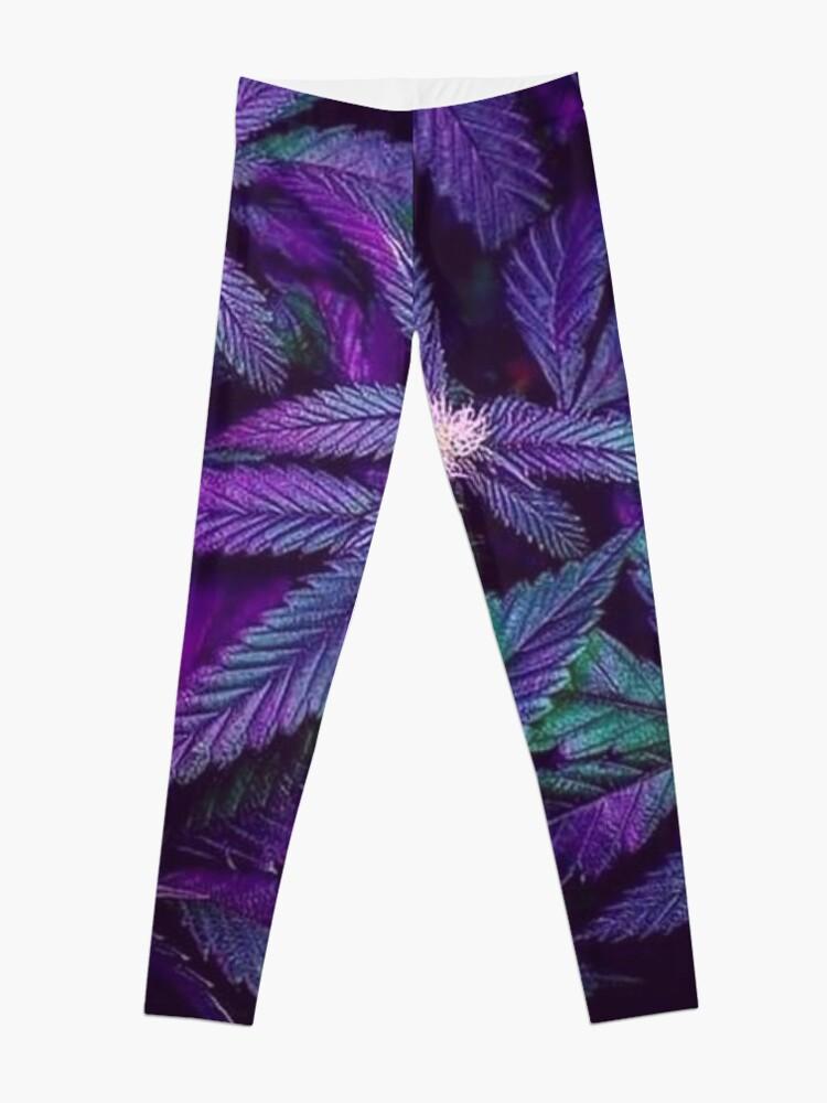 Alternate view of Psychedelic Purple Cannabis Marijuana Weed Pot Leaves Leggings