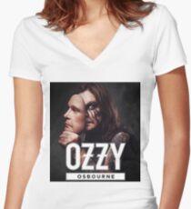 Camiseta entallada de cuello en V langit biru unisex osbourne paling terdepannn seram ozzy hitam