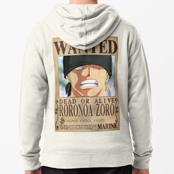 One Piece - Zorro - Wanted T-Shirt Zipped Hoodie