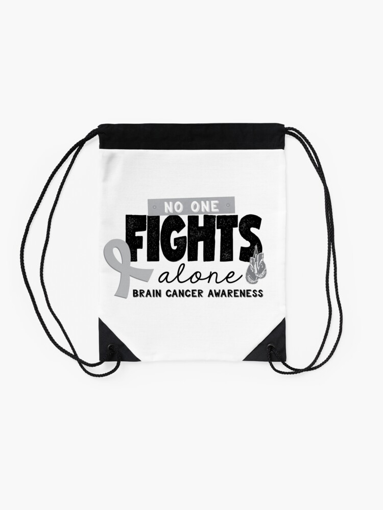 Alternate view of No One Fights Alone - Brain Cancer Awareness Drawstring Bag