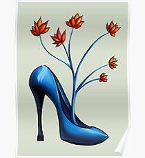 High Heel Shoe And Flower Bouquet Poster