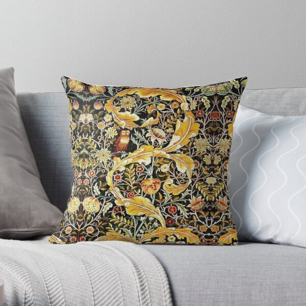 OWL ON ACANTHUS LEAVES AND FLOWERS Yellow Brown Floral Throw Pillow