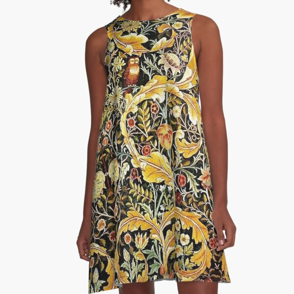 OWL ON ACANTHUS LEAVES AND FLOWERS Yellow Brown Floral A-Line Dress