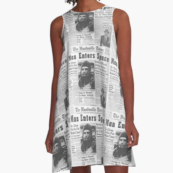 Man Enters Space #man #enters #space #matureadult #adult #newspaper #people #text #portrait #print #journalist #business #press #journalism #coverage #real #people #black  #white #monochrome #bright A-Line Dress