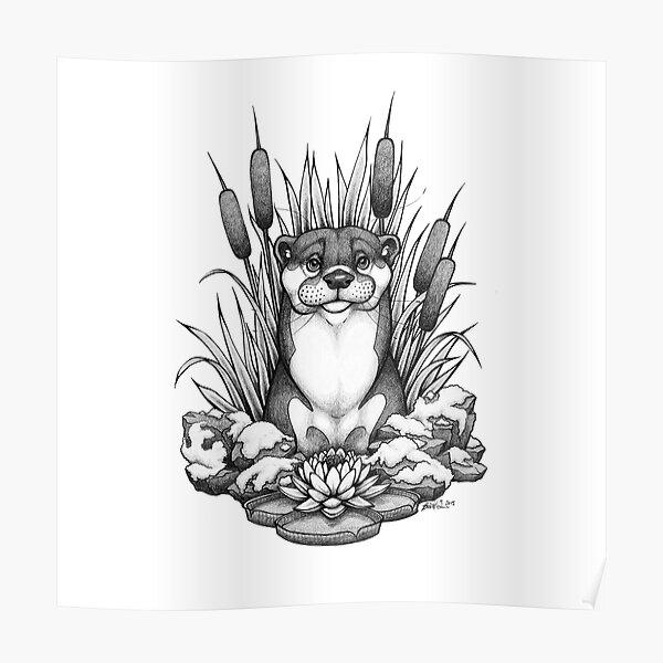 Otter & Aquatic Plants Poster