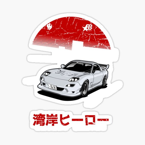Wangan Heroes FD3S - White Sticker