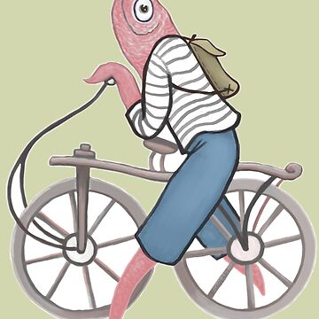 A Fish with a Vintage Bicycle by kikoeart