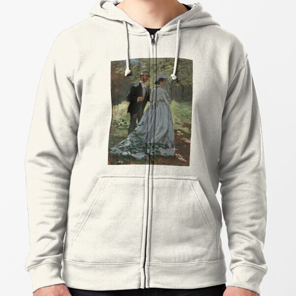 """Claude Monet, Bazille and Camille (Study for """"Déjeuner sur l'Herbe""""), 1865 Painting Zipped Hoodie"""