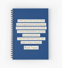 Mark Twain Travel Quote - Explore Dream Discover Spiral Notebook