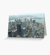 Aerial View of Lower Manhattan, Governors Island, View from One World Observatory, World Trade Center Observation Deck Greeting Card