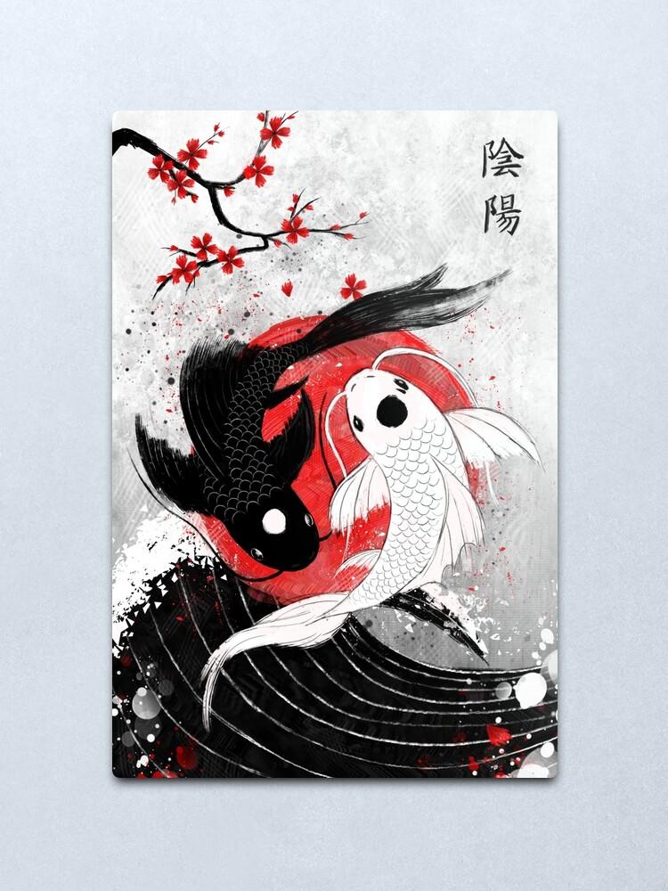 Alternate view of Koi fish - Yin Yang Metal Print