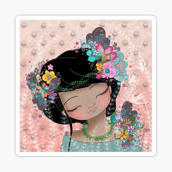 La fille aux fleurs Sticker