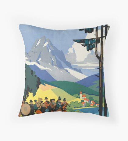 Austria Vintage Travel Advertisement Art Poster Throw Pillow