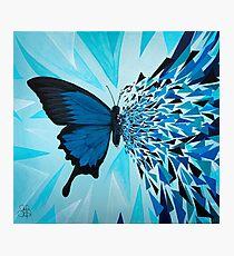 Explosión geométrica mariposa azul Lámina fotográfica