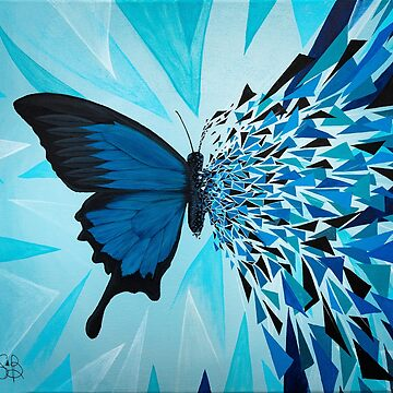 Blue butterfly geometric explosion by artetbe