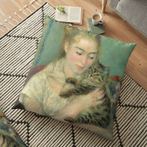 Auguste Renoir, Woman with a Cat, 1875 Painting Floor Pillow