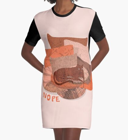 Nope - Lazy Red Cat Graphic T-Shirt Dress
