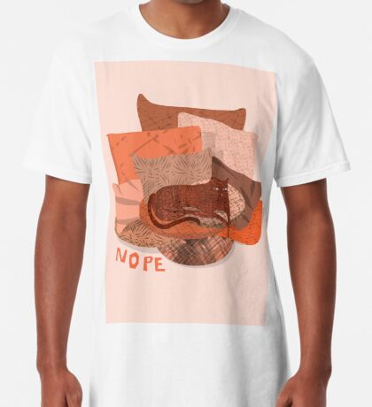 Nope - Lazy Red Cat Long T-Shirt