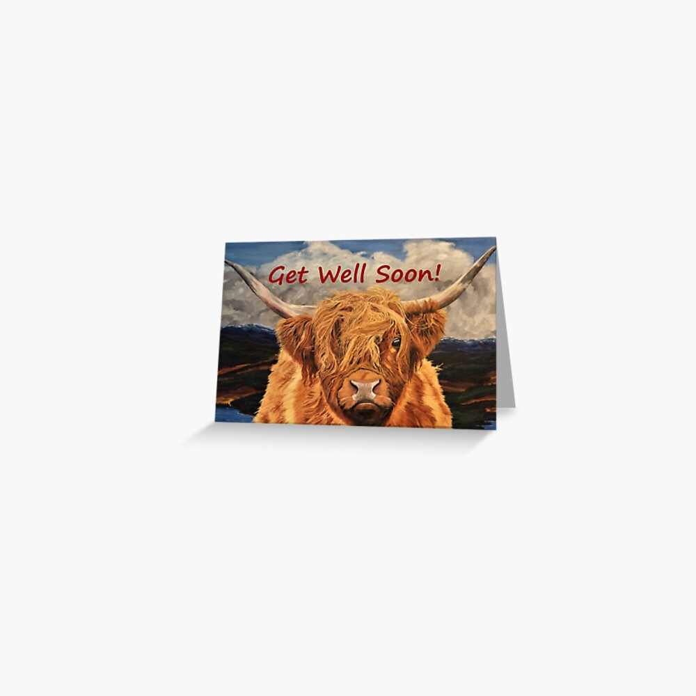 Highland Cow - Get Well Soon Card Greeting Card