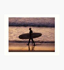 early morning surfer Art Print