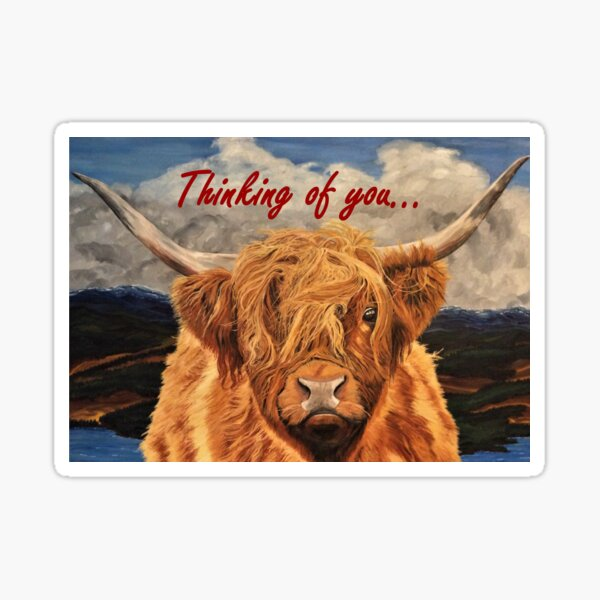 Highland Cow - Thinking of You Card Sticker
