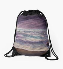 Seascape No 6, watercolour painting of ocean waves, shore and rocks and a night sky Drawstring Bag