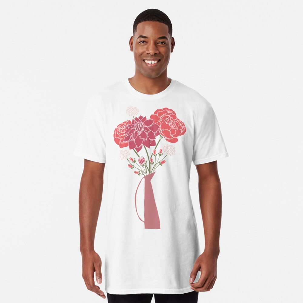 Pink Flower Bouquet in a Vase Long T-Shirt