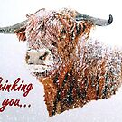 Snowy Highland Cow - Thinking of You Card by EuniceWilkie